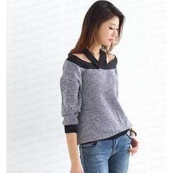 SO Central - Off-Shoulder Contrast Trim Sweater