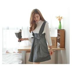 demavie - Buttoned Stripe Jumper Skirt