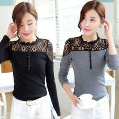 Amella - Lace Panel Top