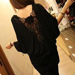 Rocho - Lace V-Back Batwing Top