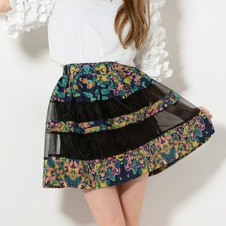 YesStyle Z - Floral Panel A-Line Skirt