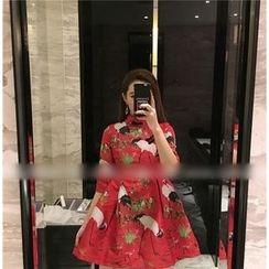 Octavia - Printed Stand-collar Elbow-Sleeve Dress