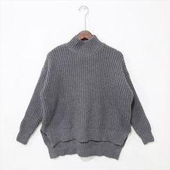 蔡先生 - 高领长尾纯色毛衣