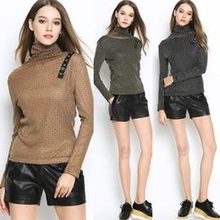 MayFair - Buckle Detail Turtleneck Long-Sleeve Top