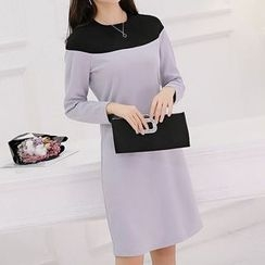 Q.C.T - Colour Block Long-Sleeve Dress