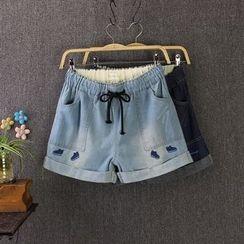 Blue Rose - Embroidered Denim Shorts