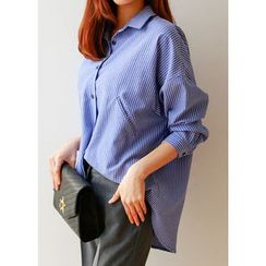 J-ANN - Welt-Pocket Detail Striped Shirt