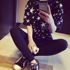 氣質淑女 - 短袖星星印花長款 T 恤