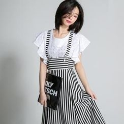 LULUS - Striped High-Waist Suspenders Skirt