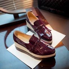 JY Shoes - Fringed Platform Patent Loafers