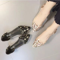 Shoeland - Floral Applique Pointy Flats