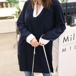 Champi - Contrast Trim V-Neck Long-Sleeve Tunic