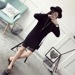 Qimi - 蕾絲底襯高領針織裙衣