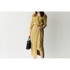 UPTOWNHOLIC - 3/4-Sleeve Wrap-Front Dress