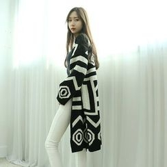 Dodostyle - Patterned Open-Front Long Cardigan