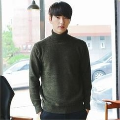 MITOSHOP - Turtle-Neck Wool Blend Knit Top