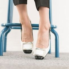 VIVIER - Metallic-Detail Contrast-Trim Pumps