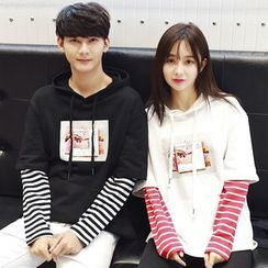 INUS - Couple Matching Mock Two Piece Hoodie