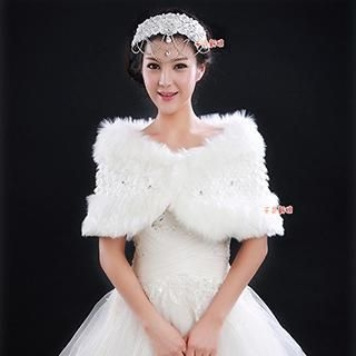 QS Bride - Jeweled & Lace-Trim Faux-Fur Bridal Shawl