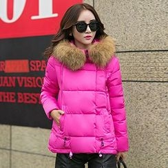 lilygirl - Furry Hooded Padded Jacket