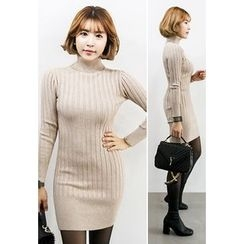 INSTYLEFIT - Turtle-Neck Ribbed Knit Bodycon Dress