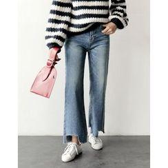 UPTOWNHOLIC - Frey-Hem Wide-Leg Jeans
