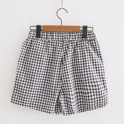Piko - Gingham Elastic Waist Shorts