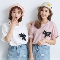 BAIMOMO - Short Sleeve Pocket Dot Bow T-Shirt