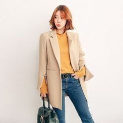 Seoul Fashion - Notch-Lapel Slit-Sleeve Blazer