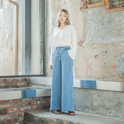 chuu - Fray-Hem Washed Wide-Leg Jeans
