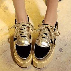 Mancienne - Color-Block Wedge Sneakers