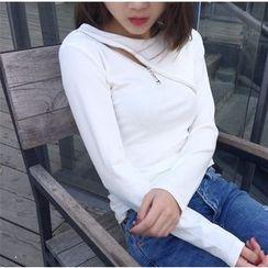 Big Cat - Zip Detailed Long Sleeve T-Shirt
