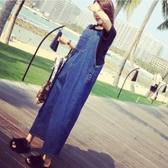 Denim Fever - Maxi Denim Pinafore Dress