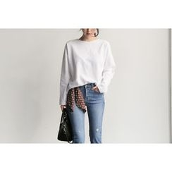 UPTOWNHOLIC - Round-Neck Cotton Top