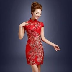 Tinkabel - Short-Sleeve Embroidered Wedding Cheongsam