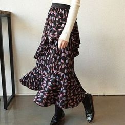 Seoul Fashion - Butterfly Pattern Ruffled Long Skirt