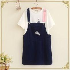 Fairyland - Cloud Applique Contrast Color Strap Pinafore Dress