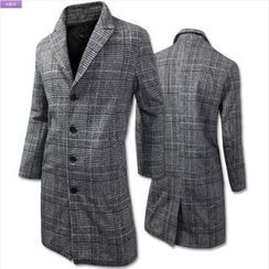 WIZIKOREA - Glen-Plaid Single-Breasted Coat