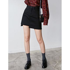 FROMBEGINNING - Asymmetric-Hem Mini Skirt