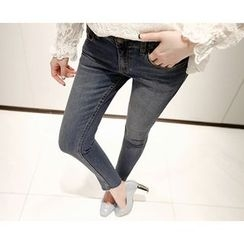 Marlangrouge - Cutout-Hem Skinny Jeans