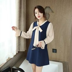 Angel Love - Long-Sleeve Mock Two Piece A-line Dress