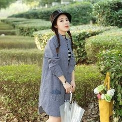 Angel Love - Long-Sleeve Striped Shirt Dress