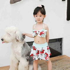 Goldlyre - Kids Set: Floral Print Swim Top + Swim Skirt