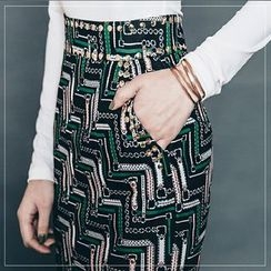 Gl.bY - Patterned Pencil Skirt