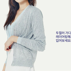 chuu - V-Neck Sheer Colored Cardigan