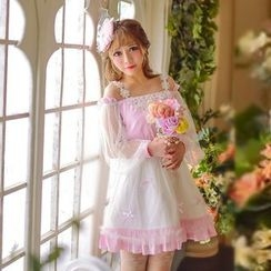 Candy Rain - Long-Sleeve Lace Panel Chiffon Dress