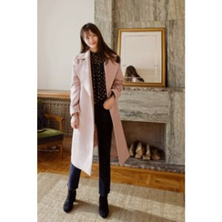 CHERRYKOKO - Wide-Lapel Wool Blend Wrap Coat with Sash