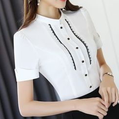 Princess Min - Short-Sleeve Lace-Panel Shirt / Pencil Skirt