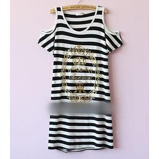 Munai - Cutaway-Shoulder Striped Dress
