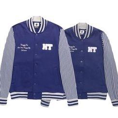 HappyTee - Applique Striped Couple Baseball Jacket